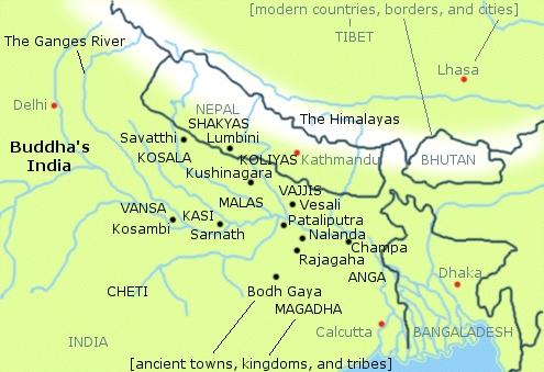 Térkép - ahol a Buddha tanított